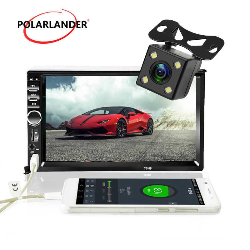 7 дюймов FM Bluetooth 2 Din ЖК-дисплей Сенсорное Зеркало Ссылка для телефонов на базе Android с Bluetooth задний Камера автомобиль радио аудио стереокассета плеер