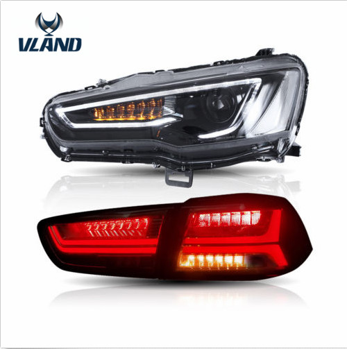 VLAND Manufacturer For Car Head Lamp For Lancer LED Headlight 2008-2015 For Lancer Tail Light With Sequential Turn Signal
