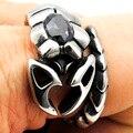 Homem do punk besouro inseto jóias gótico de aço inoxidável anel com pedra preta 2016 para homens WR301