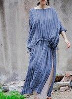 מקורי ארוך שרוול קצר שמלת פס קיץ כותנה נשים סגנון החדש ארוך להרחיב סדק Vestidos שמלת וינטג 'של נשים בתוספת גודל