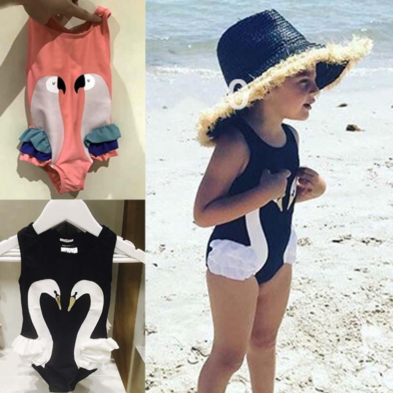 bbk 2017 estate costume da bagno delle ragazze di modo nerorosa cigno flamingo modello