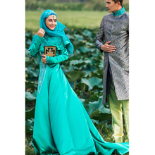 2015 Long Sleeve Muslim Kaftans Evening Dress Dubai Green Embroidery Beaded Arabic Stain Kaftan Islamic Summer Abaya