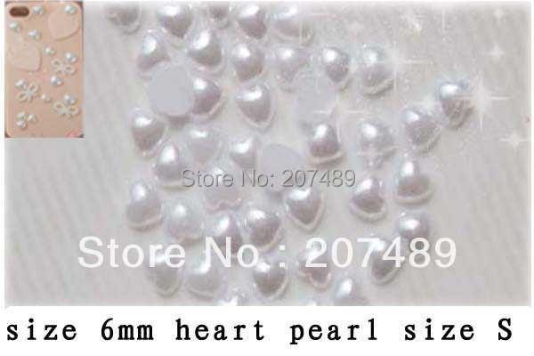 DIY white heart color pearl size S Artificial beads for cellphone mobile phone cases scrapbook jewelry decorations wholesale