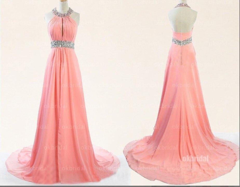 Baratos Envío rápido Halter Rosa Largo Vestido de Fiesta 2015 Simple ...