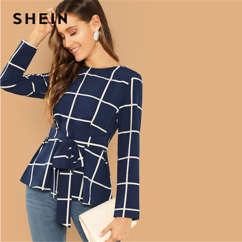 SHEIN Weekend Casual Modern Lady Navy Self Belted Grid Round Neck Long Sleeve Plaid Pullovers Top Women Autumn Plain Blouse