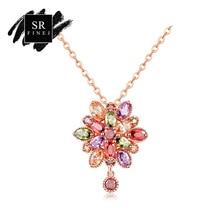 Фотография SR:FINEJ Hot Fashion Rose Gold Color Chain Colors Cubic Zirconia Pendant Necklace For Women Girls Elegant Wedding Jewelry