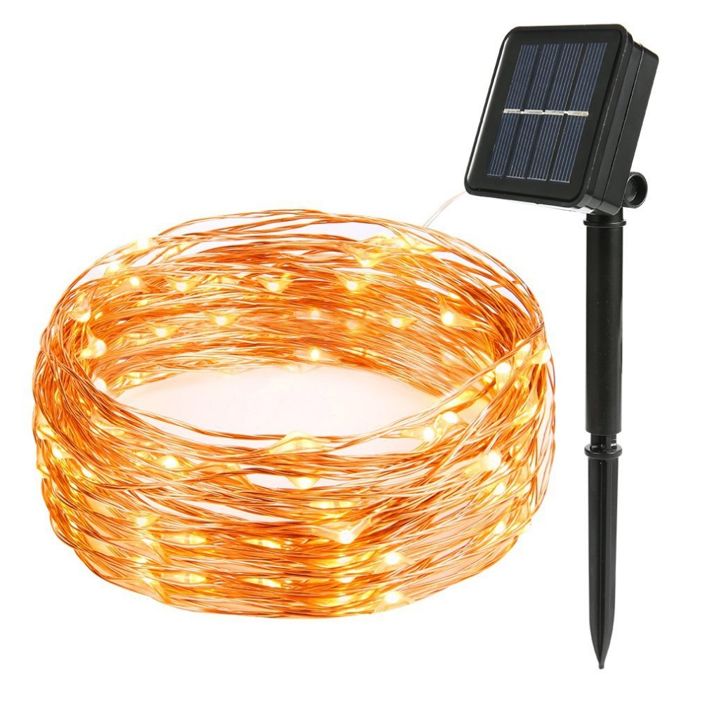 OSIDEN Solar Powered luces de cuerda 10 m 100LED alambre de cobre al aire libre luz para Navidad jardín decoraciones navideñas