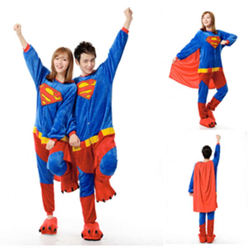 Оптовая продажа зимних животного Комбинезоны мультфильм унисекс для  взрослых Superman Onesie Косплэй костюм Фланелевая Пижама пижамы ec06293f80e1b