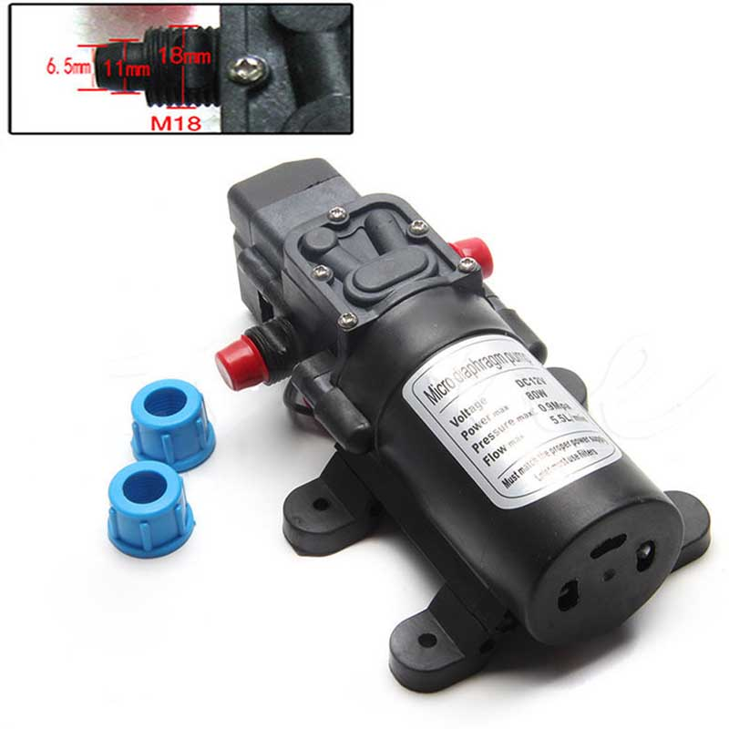 1Pc DC 12V 80W High Pressure Diaphragm Water Self Priming Pump with Pressure Switch 5.5L/min For RV Boat Car Washing Machine 5 5l min 8m range 12v dc 80w vehicle mounted kits high pressure self priming portable water pump for car wash