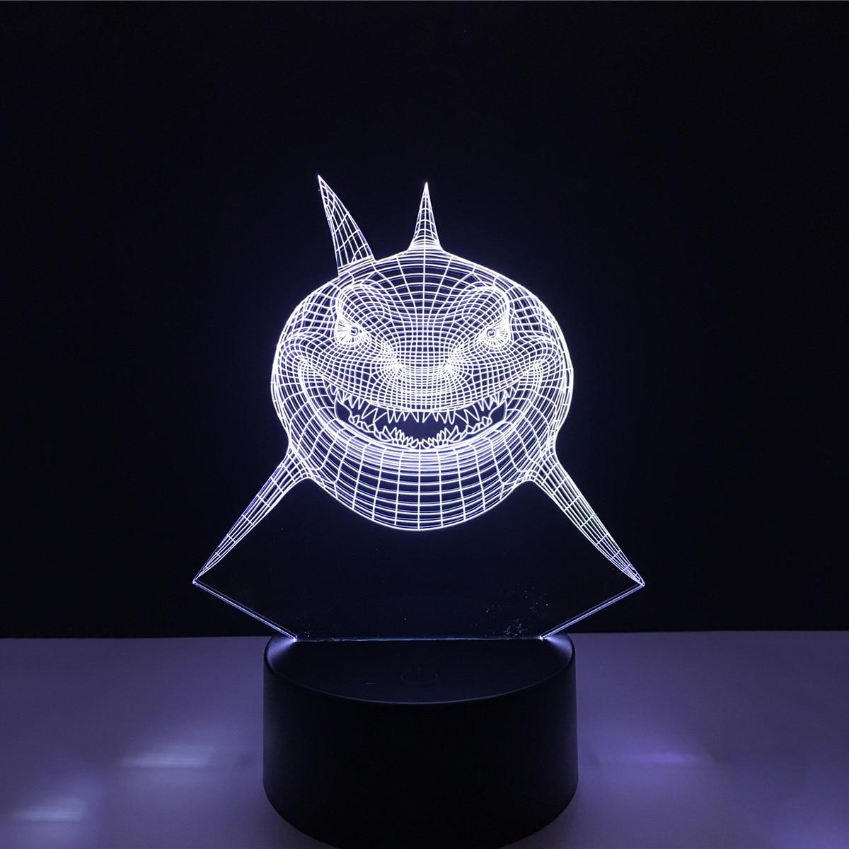 3D Shark Acrylic LED Lamp 3D Baby Night Light Sleeping Lighting For Children Night Light Xmas New Years DIY Light P25