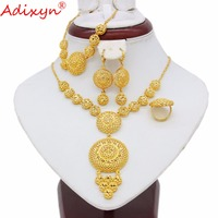 Adixyn Ethiopian Round Jewelry Set Gold Color Necklace/Earring/Bracelet/Ring African/Eritrea/India Women Gift N05083