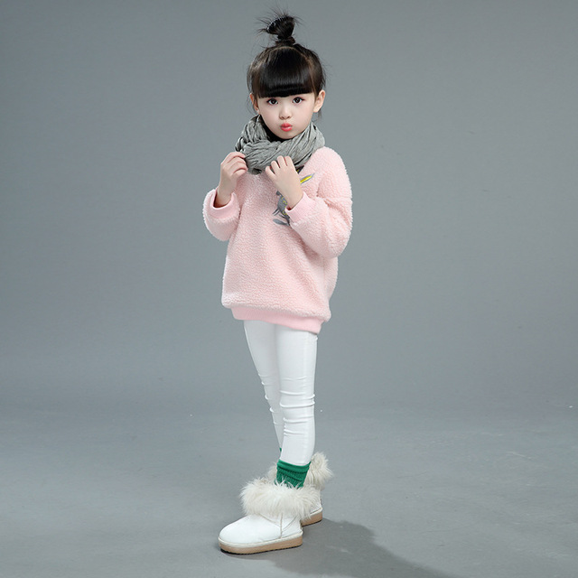 New Fashion Baby Girls Hoodies Autumn Winter Children's Plus Cotton Warming Clothing Korean Casual Solid O-Neck Long Sleeve Hot