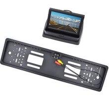 Espejo Retrovisor del coche Monitor de 4.3 pulgadas Monitor de Vista Trasera de Estacionamiento de Visión Nocturna Plate Frame cámara de visión Trasera Cámara de Marcha Atrás de LA UE