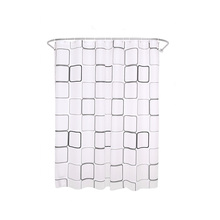 PEVA Square Plaid Shower Curtain With Hooks Waterproof Mildew Resistant Plastic Bath Curtain Durable Quality Bathroom Curtain