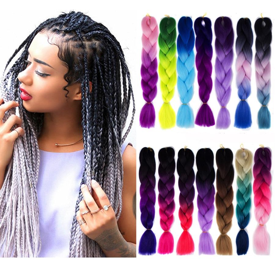 Women's Hair Accessories Mumupi 1 Piece Ombre Kanekalon Braiding Hair 100g Jumbo Kanekalon Crochet Braids Synthetic Hair Extensions For Women Headwear