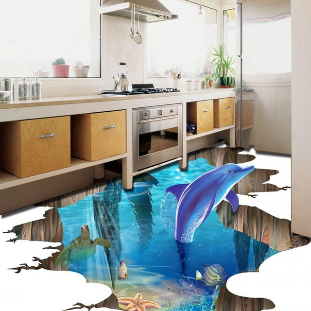 Free Shipping Picture Sticker Kitchen Decoration Underwater World Dolphin Playing Water Self Adhesive Pvc Floor
