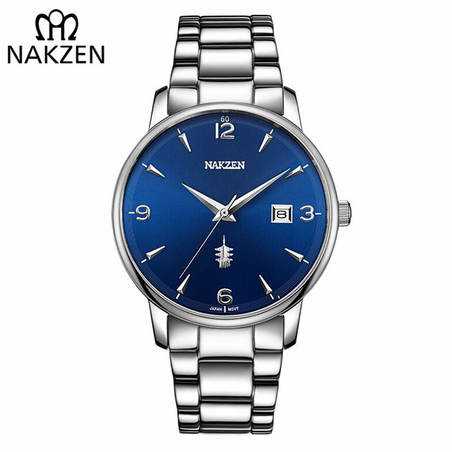 NAKZEN זכר מזדמן מסחר מגניב שעון פשוט שעון יד מותג יוקרה גברים קוורץ שעונים נירוסטה עמיד למים שעון מתנה