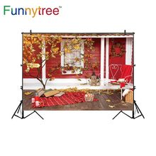 Funnytree background for photo studio autumn red wooden house tree Christmas photography backdrop photocall photobooth printed