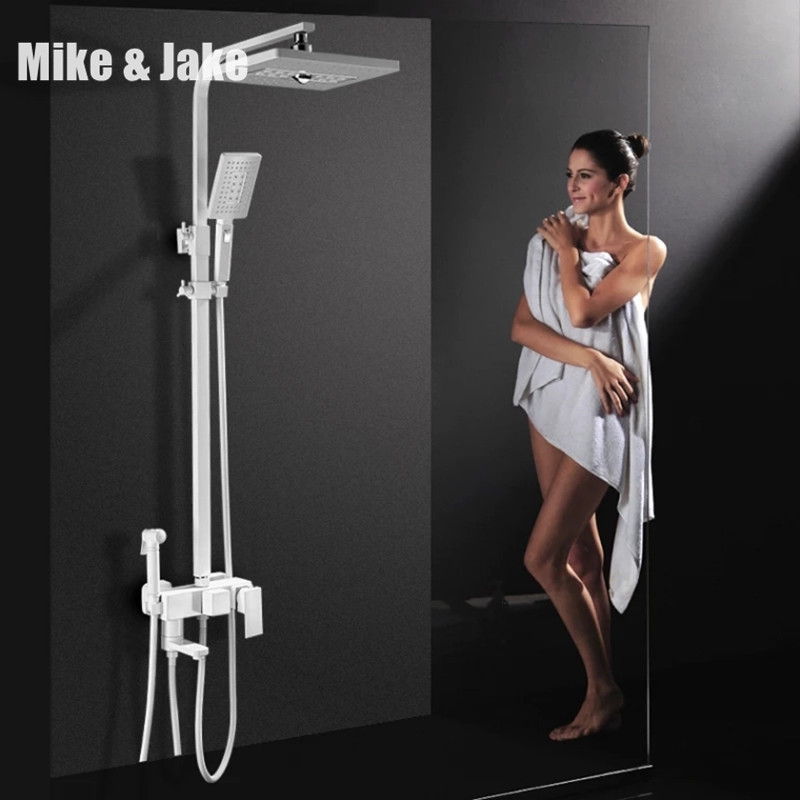 Pure white Brass four funtion shower set Square wall shower white bathroom Shower faucet with bidet Bathtub shower tap Mike&Jake bathroom luxury pure black shower set with bidet shower with shelf bidet shower set bathroom shower faucet bathtub faucet sets
