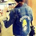 2016 Новое прибытие женские цветные салон печати джинсовой куртке женская случайные свободные жан пальто Женщин мультфильм шаблон верхняя одежда