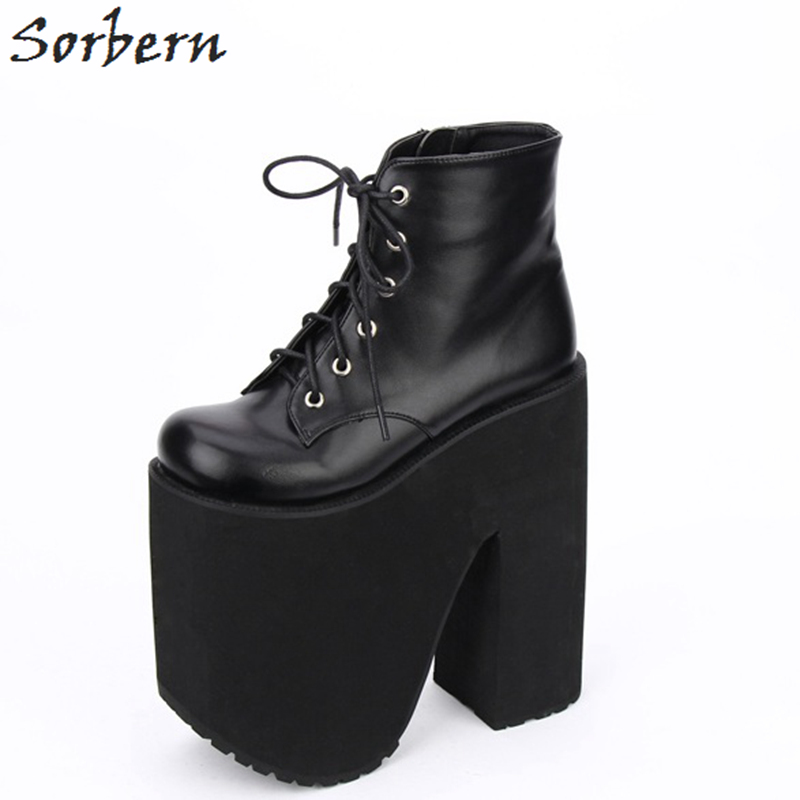 Sorbern Fashion LOLITA Mid Calf Boots Round Toe PUNK Style Shoes Women 20cm Wedge High Heels 17cm Platform Boots For Women nayiduyun women genuine leather wedge high heel pumps platform creepers round toe slip on casual shoes boots wedge sneakers
