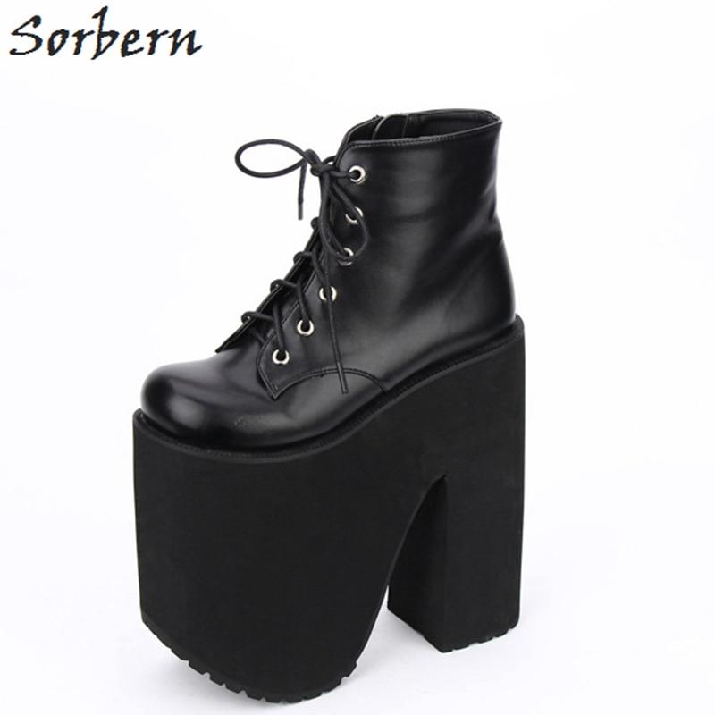 Sorbern Fashion LOLITA Mid Calf Boots Round Toe PUNK Style Shoes Women 20cm Wedge High Heels 17cm Platform Boots For Women