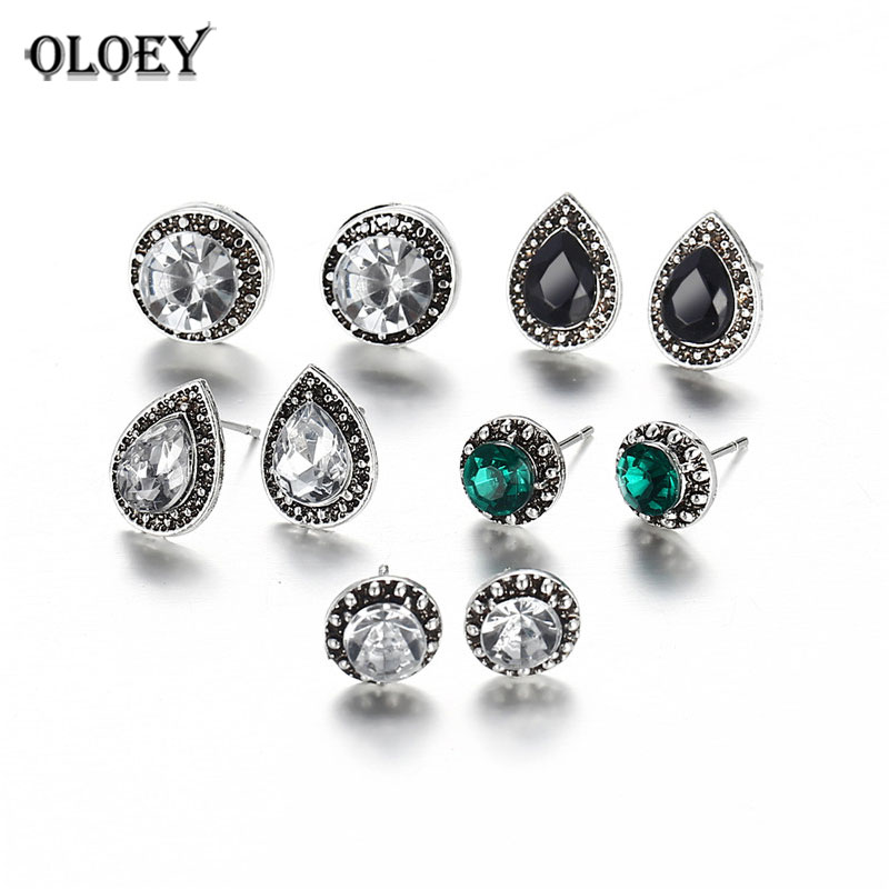 Earrings Intellective Oloey 5 Pairs/set Bohemian Stud Earrings Set Boho Green Black Crystal Droplet Earrings For Women Brincos Femme Jewelry Ymcje051
