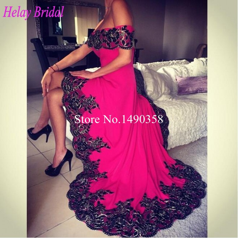 Short black and fuschia dresses