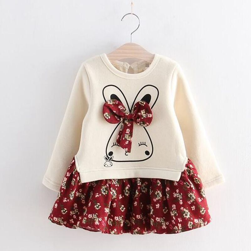 2018 Autumn Cute Rabbit Girl Dress Bow Flowers Printed Girls Long Sleeve Dress Baby Girl Princess Dress 2 Color girls clothing