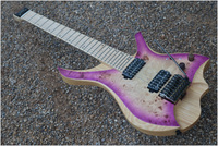 7 Strings Headless Electric Guitar steinberger style Purple burst spalted curly maple top Flame maple Neck free shipping