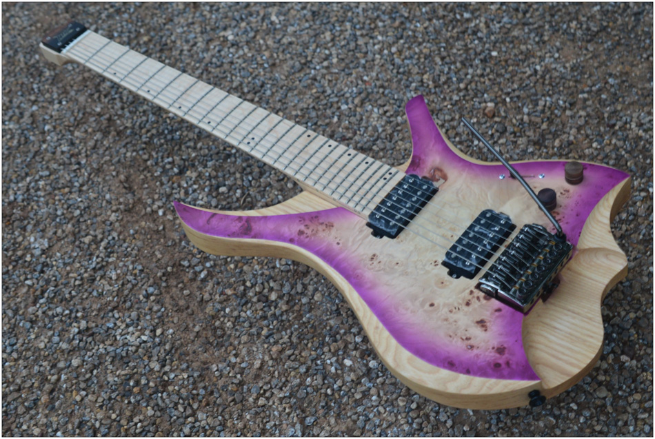 7 Strings Headless Electric Guitar style Purple burst spalted curly maple top Flame maple Neck free shipping