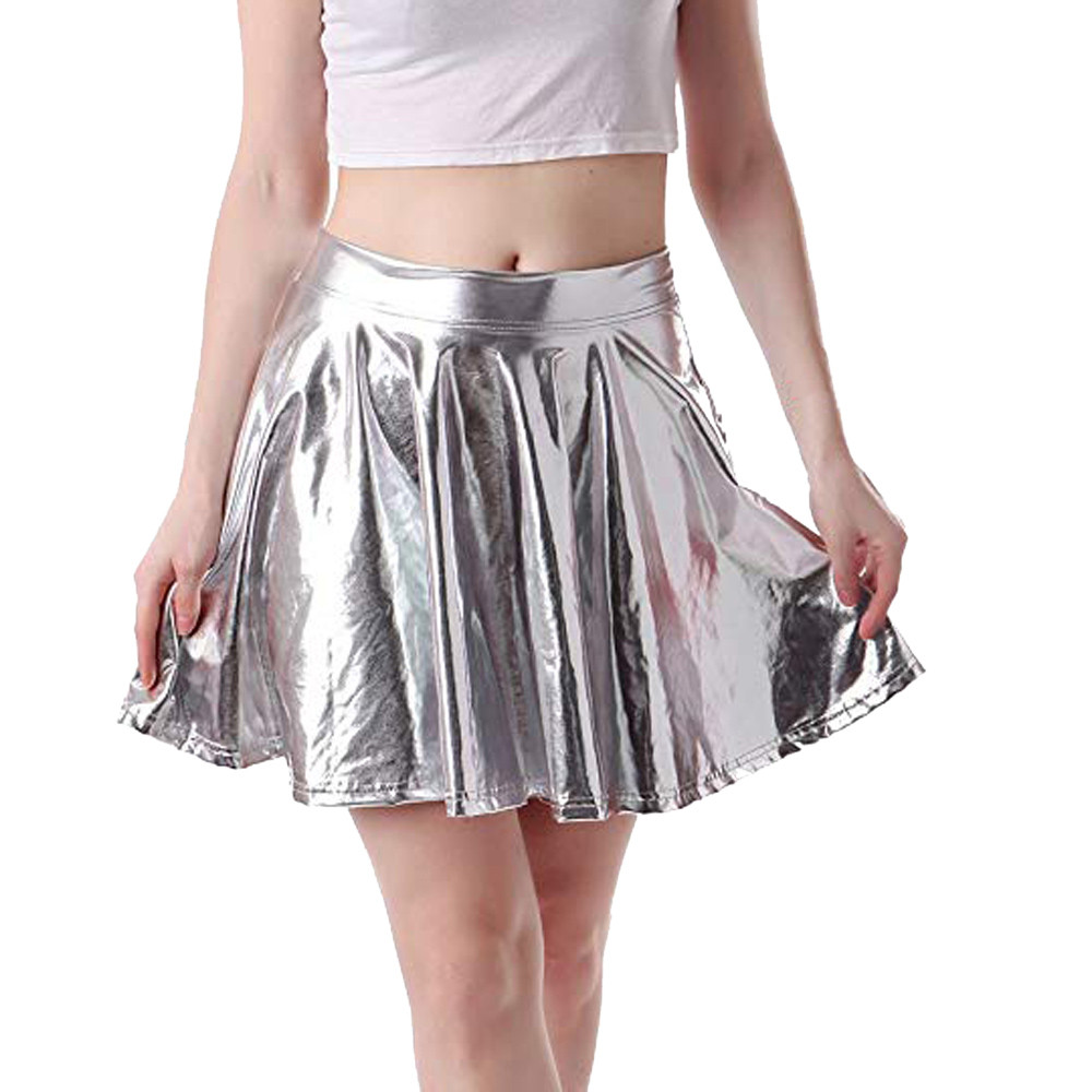 2019 Sexy PU Flashing Metallic Colors Mini Skirts Women Elastic High Waist Pleated Skirt Flare Skirt Fashion Summer Streetwear