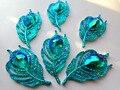 20 unids nueva moda estilo hoja pluma forma cose en los rhinestones de flatback 25*50mm azul/verde handsewing piedras preciosas de cristal