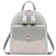 2019 las mujeres de cuero mochila chicas mochila, mochila Mini mujeres lindo paneles mochilas para chicas adolescentes pequeña bolsa # P