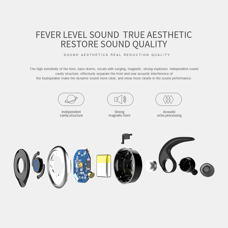 AWEI T1 TWS Bluetooth Earphone Ture Wireless Earbuds In-Ear Earpiece With Mic Stereo Mini Handsfree Headset For Phone With MIC 4