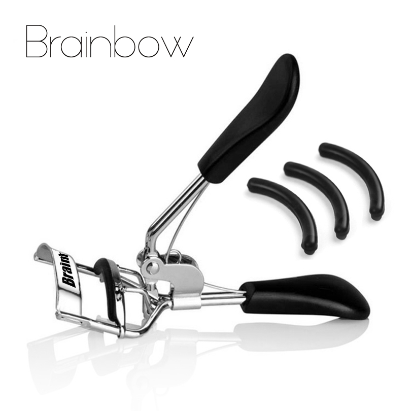 Brainbow 1pc Woman Silver Eyelashes Curler Supplementer Clip with Black Handle+3pcs Eyelash Curler Replacement Pads Makeup Tools