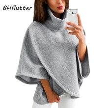 Bhflutter толстовки Для женщин 2018 Новый Flare рукавом водолазки зима пуловеры Топы женские теплые Повседневное толстовки Mujer