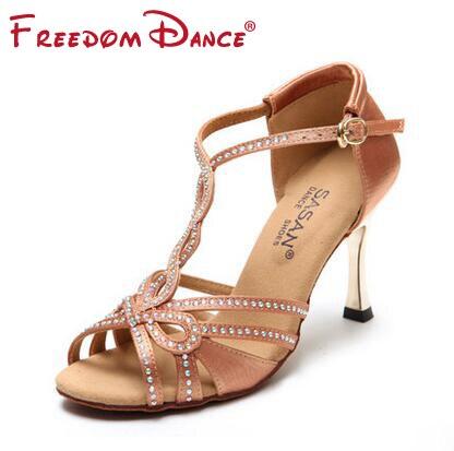T-font strass décoré Satin tissu femmes chaussures de danse latine 5.5 cm 8.5 cm talon Latin Tango Salsa Tango chaussures filles Sansals