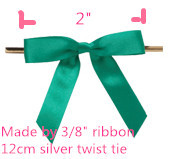 Free Shipping 550pcs/lot Teal 2″ Pre-Tied Satin Bows with 4.5″ Twist Ties~ 3/8″ ribbon
