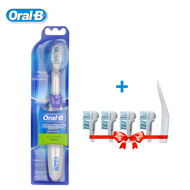 Oral B Cross Action Electric Toothbrush Teeth Whitening Sonic Tooth Brush Non-Rechargeable Dual Clean +4 Replace Brush Head Gift