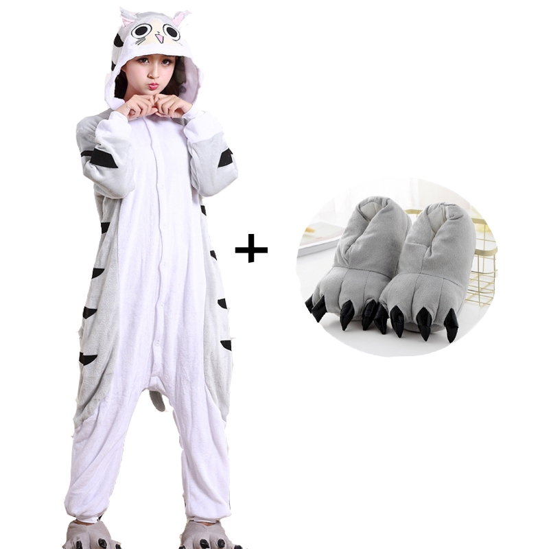 Kigurumi Pajamas Cheese Cat Cartoon For Women Adult Chi Cat Kigurumi Onesie Flannel Nightsuit Cosplay Party Sleepwear Halloween
