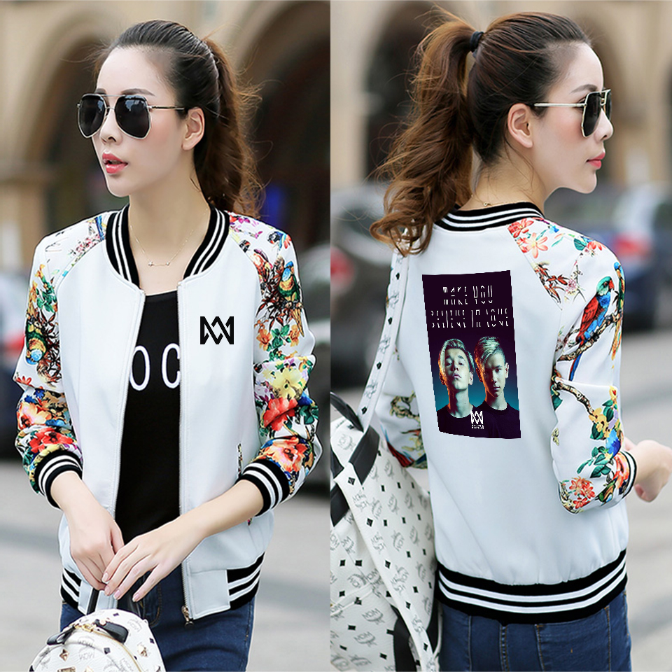 Marcus & Martinus Baseball Jacket harajuku Funny New Casual Streetwear Korean Style 2019 New Printed Women Jacket