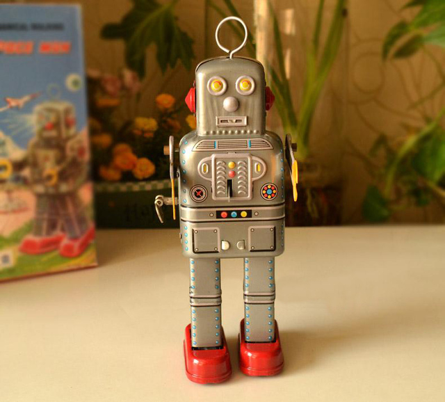 Clockwork juguetes de hojalata clásicos retro Rare Clockwork caminar Robot colección