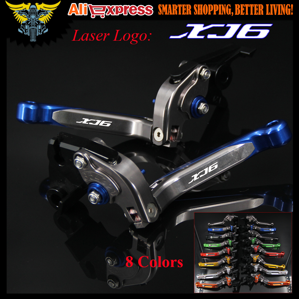 Logo XJ6 Blue&Titanium CNC Adjustable Motorcycle Brake Clutch Levers For YAMAHA XJ6 DIVERSION 2009 2010 2011 2012 2013 2014 2015
