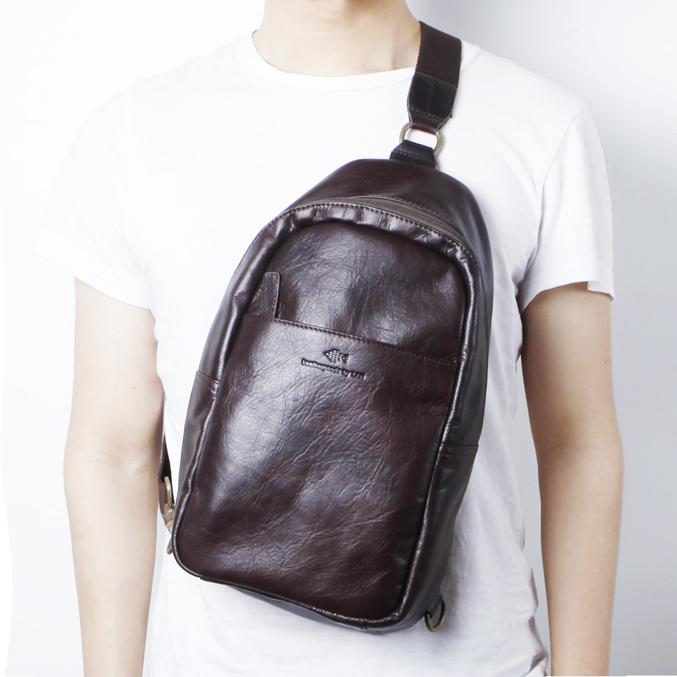 ФОТО LAN leather men's  waist bag first layer cowhide messenger  fashion leather travel bag
