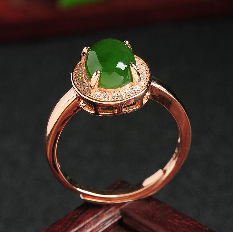 925 Silver Natural Green HeTian Gem Inlay Lucky Ring + Certificate Rose Gold Rings adjustable Fashion Woman ring Jewelry new pure au750 rose gold love ring lucky cute letter ring 1 13 1 23g hot sale