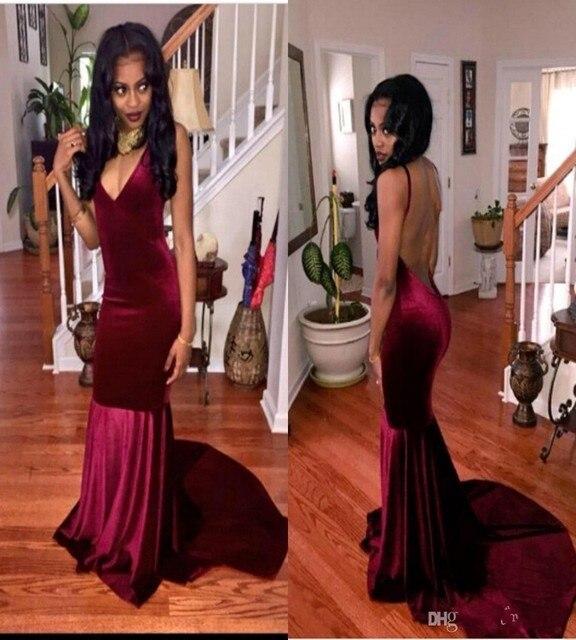 23d51662f6d Sexy Spaghetti Straps Backless Burgundy Prom Dress 2016 Vestiodos Mermaid  Velvet Dark Red Prom Dresses Party