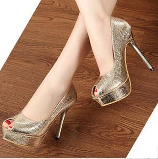 Autumn korean new bronzing burst crack high heel,fashion gold and ...