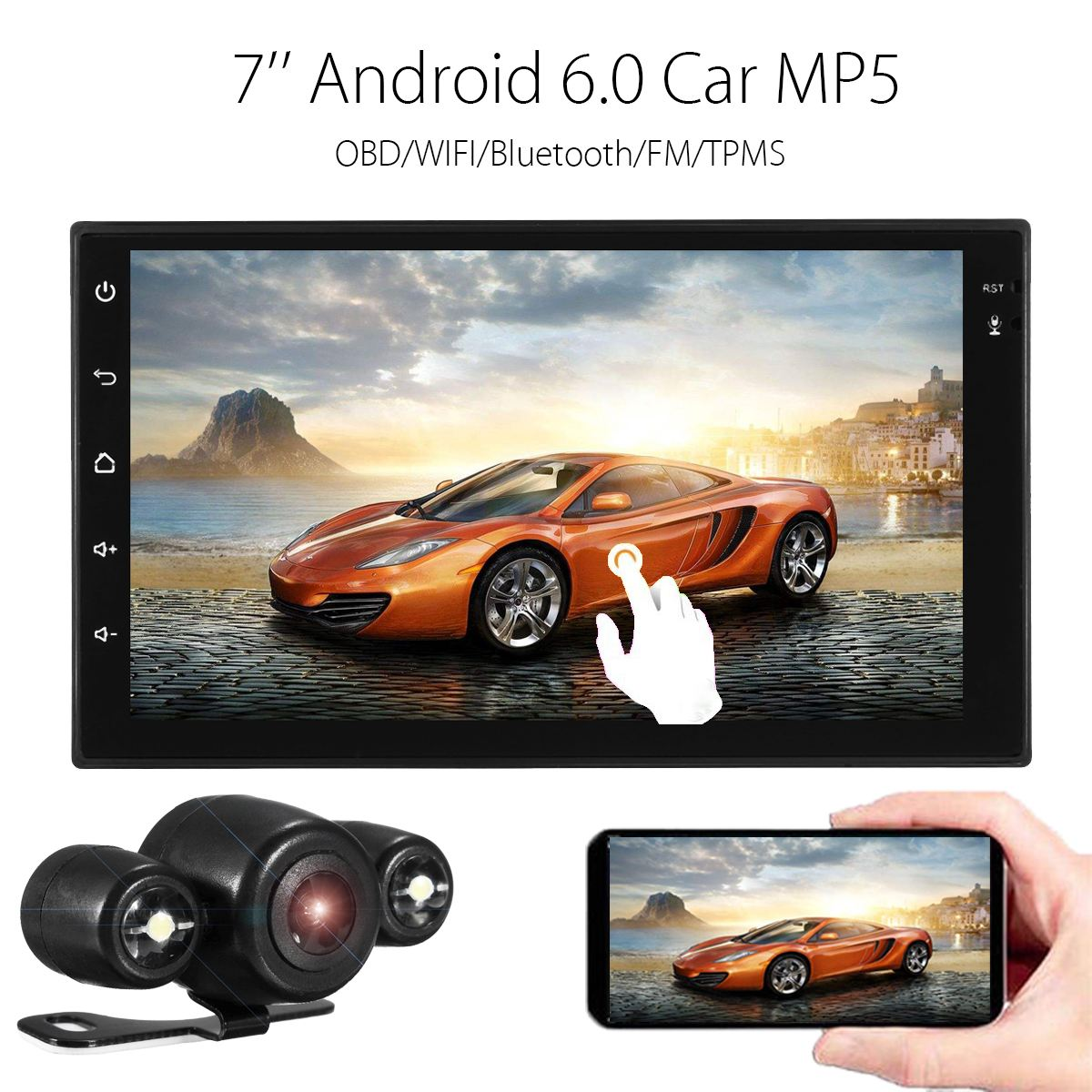 KROAK Android 6 0 1G 16G 7 HD 2D Car MP5 Player OBD WIFI Bluetooth 4