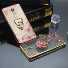 Ringcall Back Cover for Meizu Meilan M3 M5 Mini M3S E X Matel Pro 6 6S Plus Diamond Crystal TPU Soft Ring Holder Phone Case